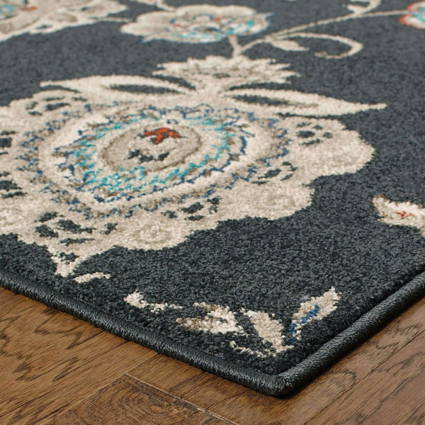 Woven - Highlands Midnight Ivory Floral  Transitional Rug
