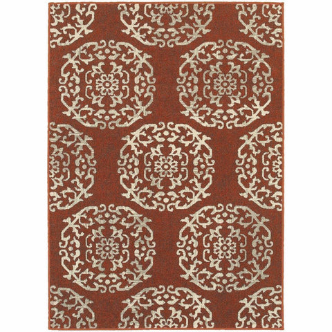 Oriental Weavers Highlands Red Beige Medallion Floral Transitional Rug