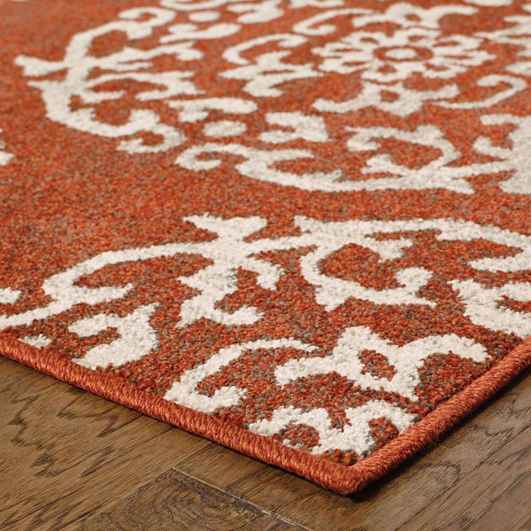 Woven - Highlands Red Beige Medallion Floral Transitional Rug