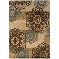 Oriental Weavers Hudson Beige Blue Floral  Transitional Rug