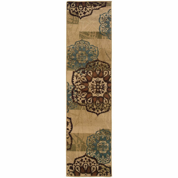 Woven - Hudson Beige Blue Floral  Transitional Rug