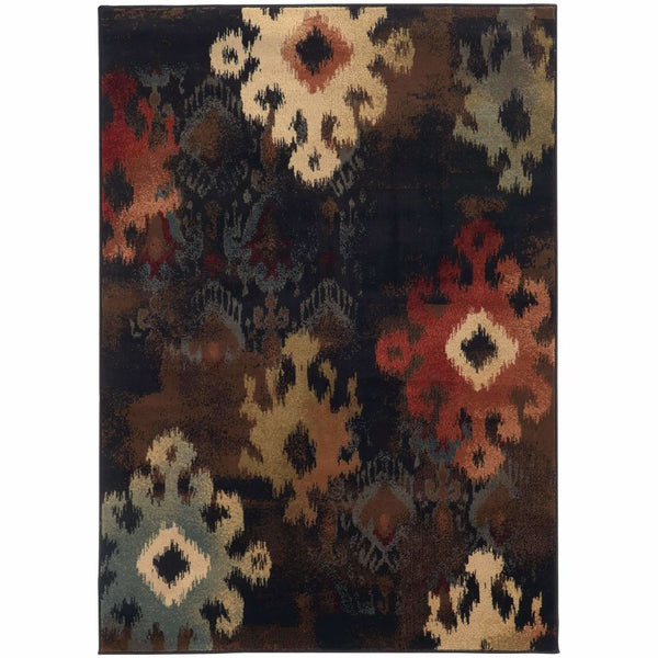 Oriental Weavers Hudson Black Brown Abstract Ikat Transitional Rug