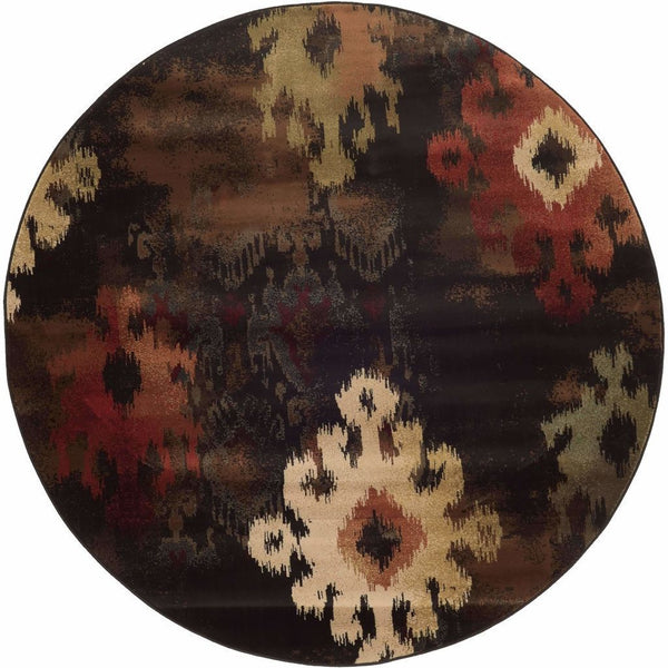Woven - Hudson Black Brown Abstract Ikat Transitional Rug