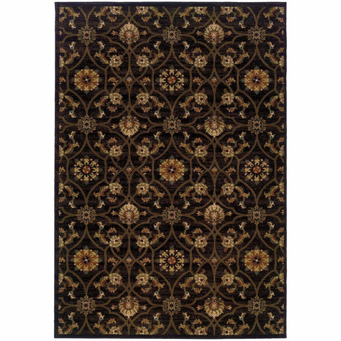 Oriental Weavers Hudson Black Brown Floral  Traditional Rug