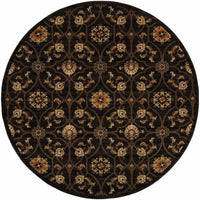 Woven - Hudson Black Brown Floral  Traditional Rug