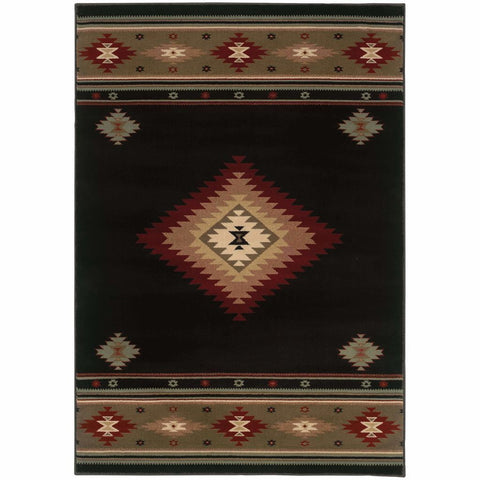 Oriental Weavers Hudson Black Green Southwest/Lodge  Transitional Rug