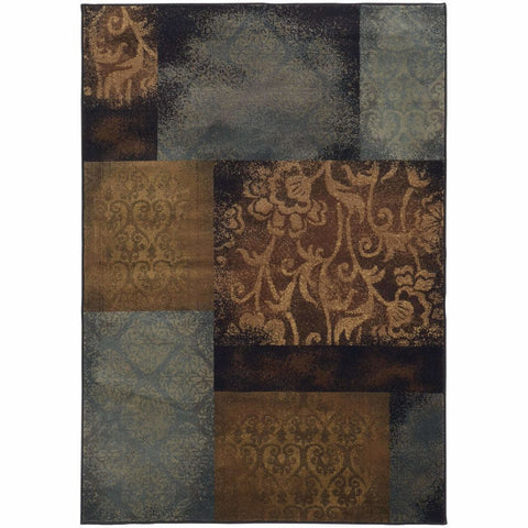 Oriental Weavers Hudson Blue Brown Geometric Floral Transitional Rug