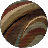 Woven - Hudson Brown  Abstract Waves Contemporary Rug