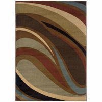 Oriental Weavers Hudson Brown  Abstract Waves Contemporary Rug