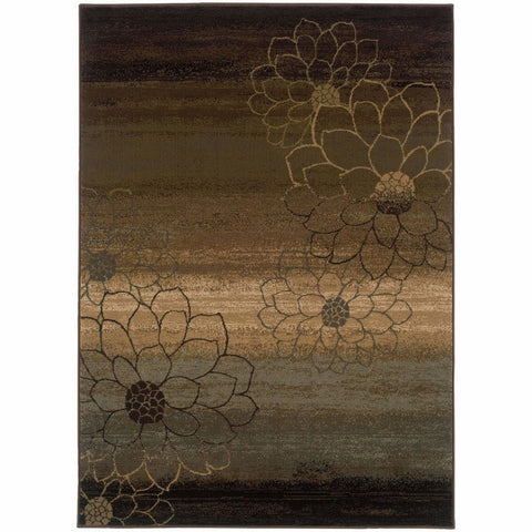 Oriental Weavers Hudson Brown Beige Floral Ombre Transitional Rug