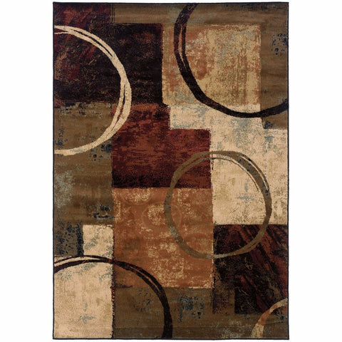 Oriental Weavers Hudson Brown Black Abstract Geometric Contemporary Rug