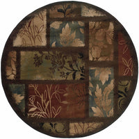 Woven - Hudson Brown  Geometric Botanical Transitional Rug