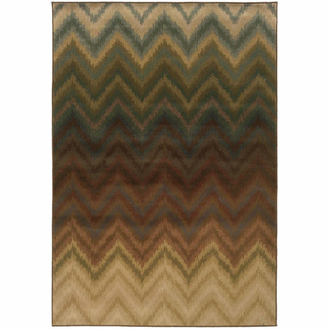 Oriental Weavers Hudson Brown Multi Geometric Ikat Transitional Rug