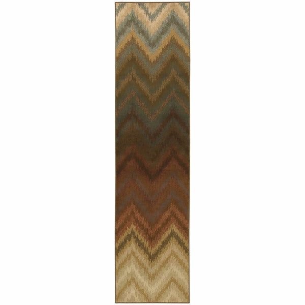 Woven - Hudson Brown Multi Geometric Ikat Transitional Rug