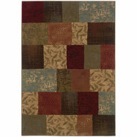 Hudson Green Red Geometric Botanical Transitional Rug - Free Shipping