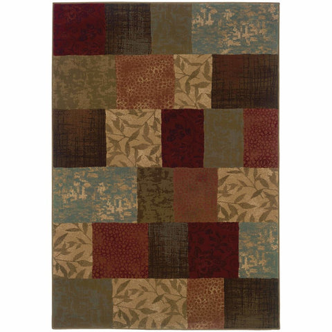 Oriental Weavers Hudson Green Red Geometric Botanical Transitional Rug