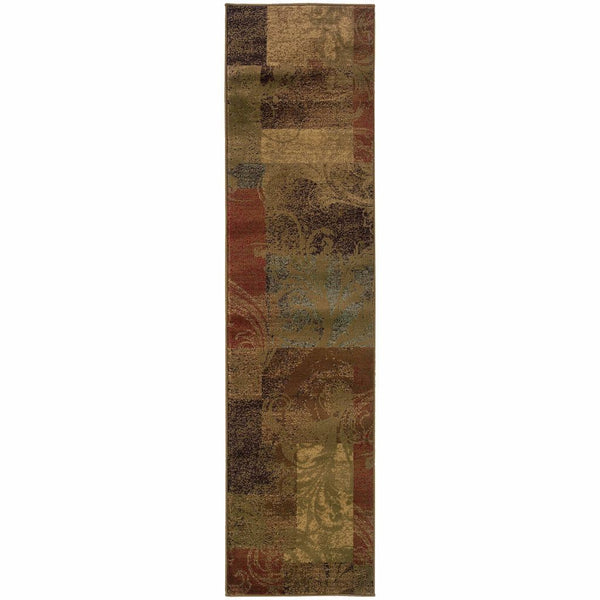 Woven - Hudson Green Red Geometric Botanical Transitional Rug