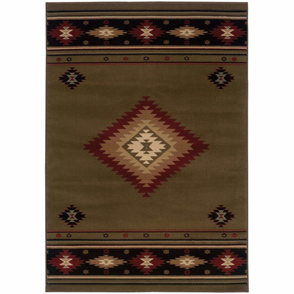 Hudson Green Red Southwest/Lodge  Transitional Rug - Free Shipping