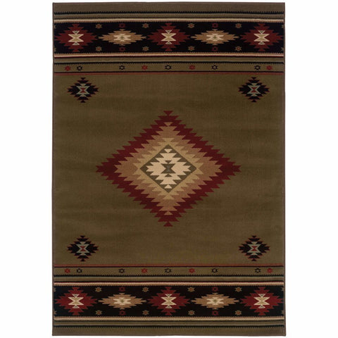 Oriental Weavers Hudson Green Red Southwest/Lodge  Transitional Rug
