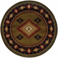 Woven - Hudson Green Red Southwest/Lodge  Transitional Rug