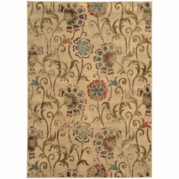 Hudson Ivory Green Floral  Transitional Rug - Free Shipping