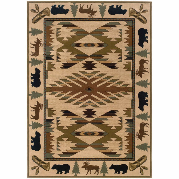Hudson Ivory Green Southwest/Lodge Novelty Transitional Rug - Free Shipping