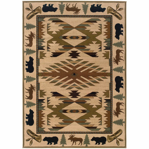 Oriental Weavers Hudson Ivory Green Southwest/Lodge Novelty Transitional Rug