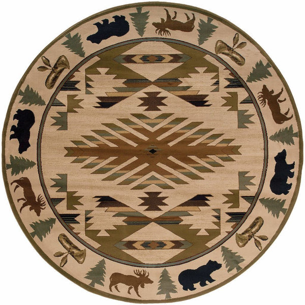 Woven - Hudson Ivory Green Southwest/Lodge Novelty Transitional Rug