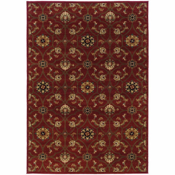 Hudson Red Brown Floral  Traditional Rug - Free Shipping