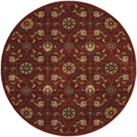 Woven - Hudson Red Brown Floral  Traditional Rug