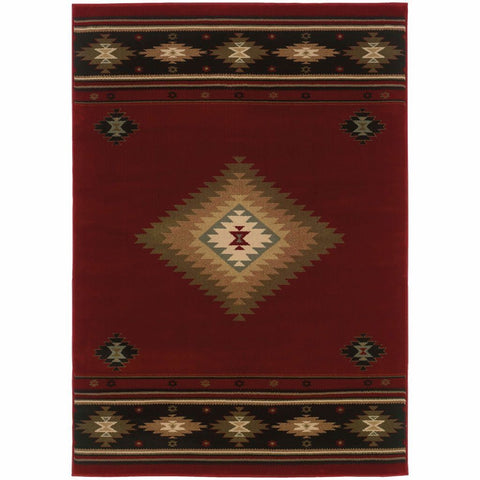 Oriental Weavers Hudson Red Green Southwest/Lodge  Transitional Rug