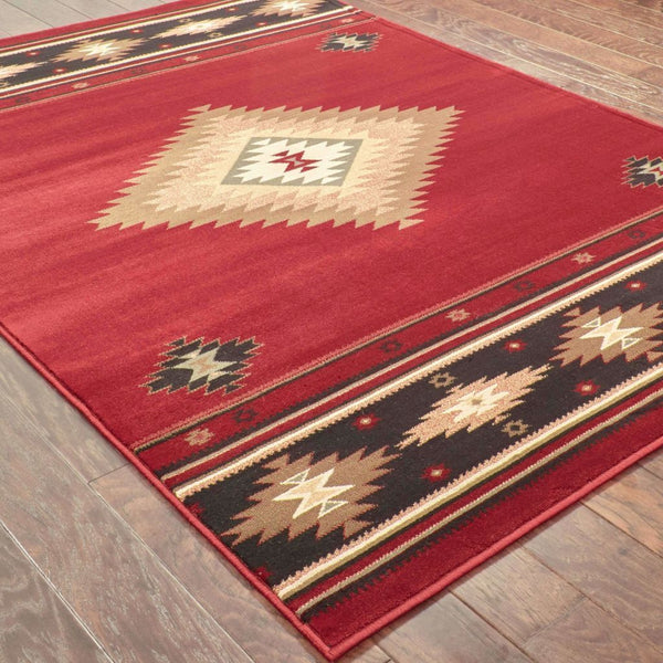 Woven - Hudson Red Green Southwest/Lodge  Transitional Rug