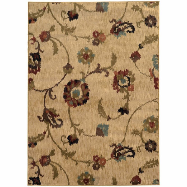 Hudson Tan Multi Floral  Transitional Rug - Free Shipping