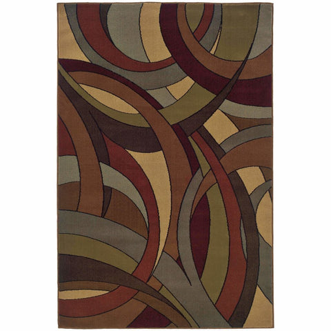Huntington Beige Blue Abstract Circles Contemporary Rug