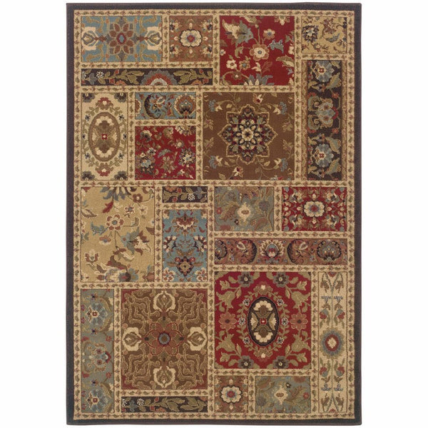 Huntington Beige Brown Oriental Patchwork Traditional Rug - Free Shipping