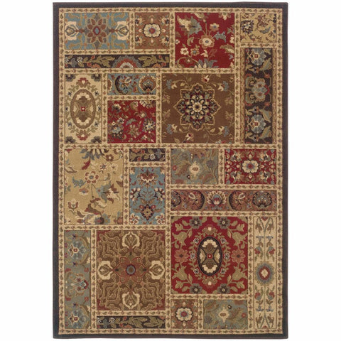 Oriental Weavers Huntington Beige Brown Oriental Patchwork Traditional Rug