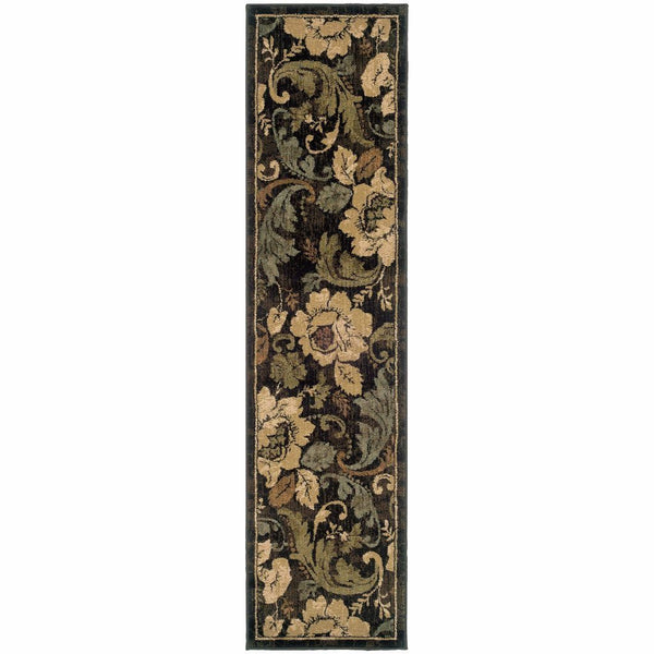 Huntington Brown Beige Floral  Traditional Rug - Free Shipping