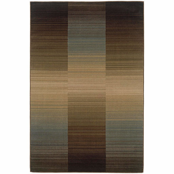 Huntington Brown Blue Striped Ombre Contemporary Rug - Free Shipping