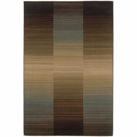 Huntington Brown Blue Striped Ombre Contemporary Rug