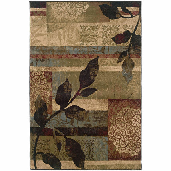 Huntington Ivory Green Abstract  Transitional Rug - Free Shipping