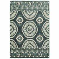 Jayden Blue Ivory Geometric Floral Transitional Rug - Free Shipping