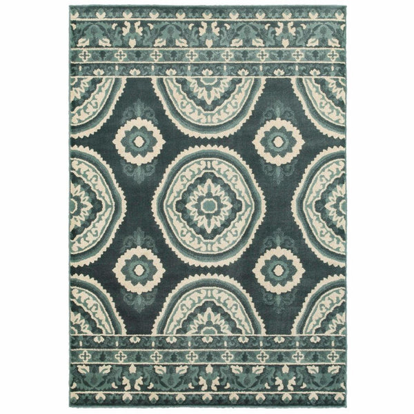 Woven - Jayden Blue Ivory Geometric Floral Transitional Rug