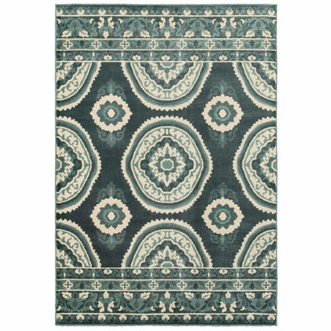 Oriental Weavers Jayden Blue Ivory Geometric Floral Transitional Rug