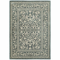 Jayden Blue Ivory Oriental Floral Traditional Rug - Free Shipping