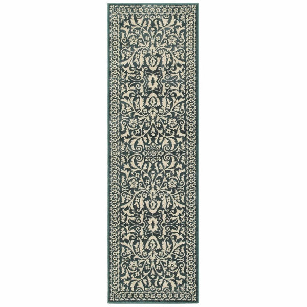 Woven - Jayden Blue Ivory Oriental Floral Traditional Rug