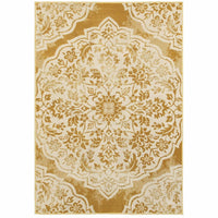 Jayden Gold Ivory Floral Medallion Transitional Rug - Free Shipping