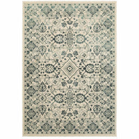 Jayden Ivory Blue Oriental Floral Traditional Rug - Free Shipping