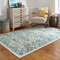 Woven - Jayden Ivory Blue Oriental Floral Traditional Rug