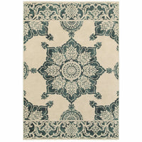 Jayden Ivory Blue Oriental Medallion Traditional Rug - Free Shipping