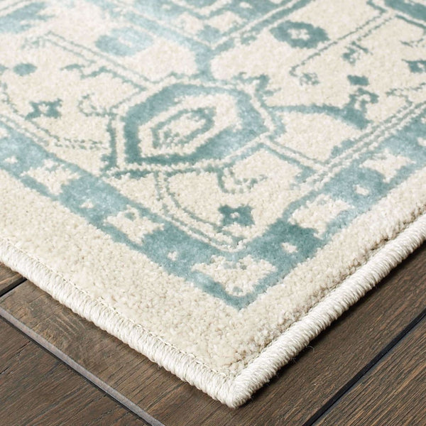 Woven - Jayden Ivory Blue Oriental Medallion Traditional Rug